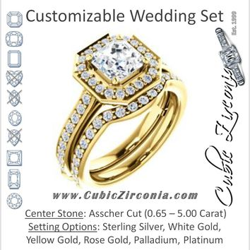 CZ Wedding Set, featuring The Sally engagement ring (Customizable Halo-Asscher Cut Design with Round Side Knuckle and Pavé Band Accents)