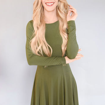 Long Sleeve Flare Dress Olive