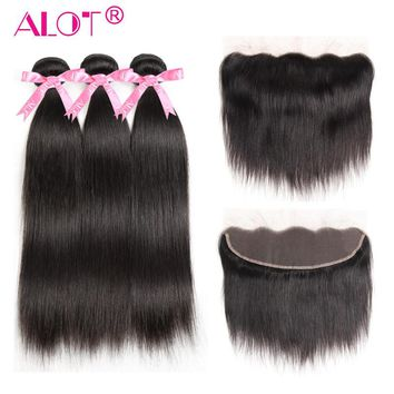 Alot Hair 13x4 Lace Frontal Closure With Bundles Brazilian Straight Hair With Frontal Ear To Ear Non Remy Human Hair Pre Plucked
