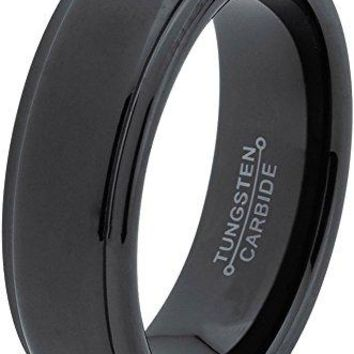6mm Tungsten Wedding Band Ring for Men Women Comfort Fit Black Step Beveled Edge Polished