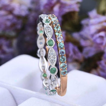 Natural Alexandrite Wedding band,14k Gold,Natural Emerald Stacking wedding band,promise band,Vintage Style,pave,bridal ring,Gift for her
