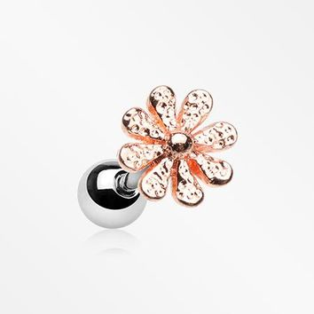 Rose Gold Daisy Flower Top Cartilage Tragus Barbell