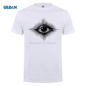 GILDAN Illuminati Eye Sketch Arter   Swag Vogue Hipster Indie Mens T Shirt 100% Cotton Short Sleeve Summer T-Shirt