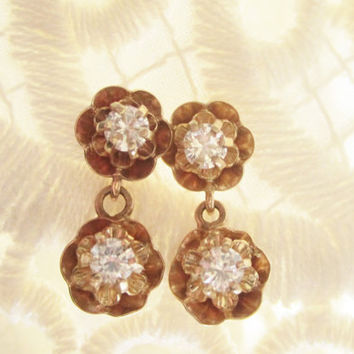 Vintage Diamond Earrings Drop Dangle Buttercup Earrings 14k Solid Yellow Gold