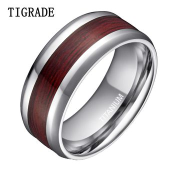 Luxury 8mm High Polished Silver Edges Titanium Ring Men Women Wood Inlay Fashion Jewelry Male Wedding Rings Engagement Band