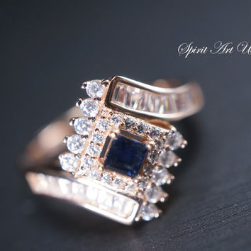 Natural Blue Sapphire Ring, Rose Gold Solitaire Ring, Sterling Silver Engagement