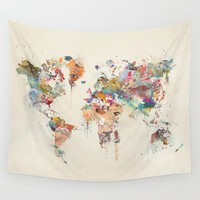 world map watercolour Wall Tapestry by bri.buckley