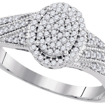 10kt White Gold Womens Diamond Oval Cluster Bridal Wedding Engagement Ring 1/3 Cttw 99539