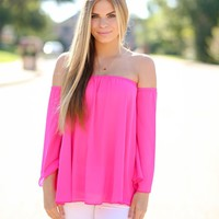 HEATWAVE OFF SHOULDER TOP - FUCHSIA