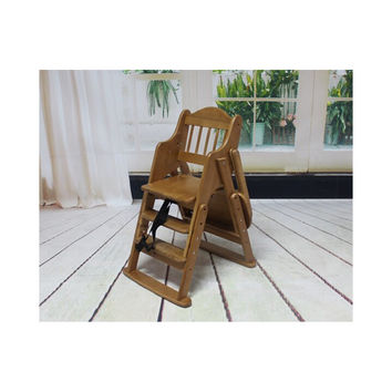 Folding Wooden Baby Highchair High Chair Reclining Booster Seat Recliner Foldable