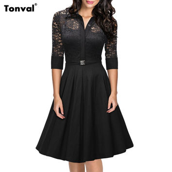 Viifaa 2016 Women Lace Rockabilly Dress Vintage Evening Party Sexy Autumn Dress 1950s Turn Down Collar Elegant Black Dresses