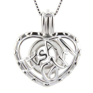 925 Sterling Silver Heart Shaped It's A Girl Pearl Cage Pendant