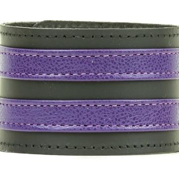 "Double Purple on Black Strip Leather Wristband Bracelet Cuff 1-3/4"" Wide"