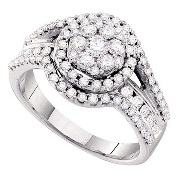 14kt White Gold Women's Round Diamond Framed Flower Cluster Cocktail Ring 1.00 Cttw - FREE Shipping (USA/CAN)