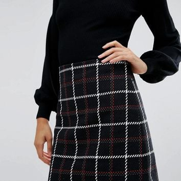 Warehouse Check A-Line Mini Skirt at asos.com