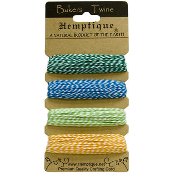 Hemptique Bakers Twine Cord Card with 4 'Tutti Frutti' Colors. 20lb Cotton, 120 Feet Total