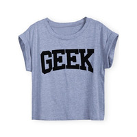 Sheinside Women Grey Short Sleeve GEEK Print Crop T-Shirt (Size: M, Color: Grey) = 1956736964