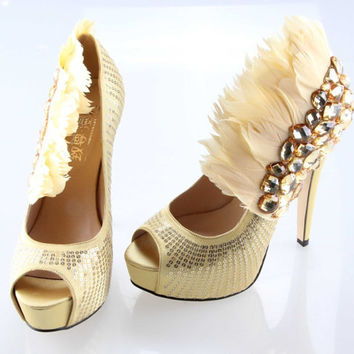 Handmade Light gold Super high heels crystal and feather shoes