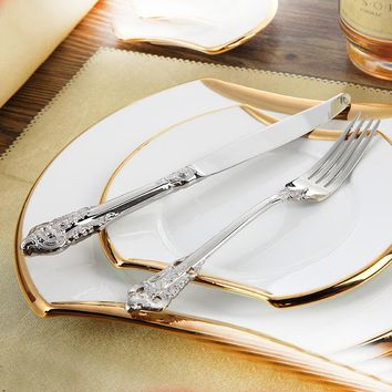 Stainless Steel Cutlery Set Luxury Dinner Set 24 Pcs Restaurant Retro Vintage Dinning Beautiful Dinnerware Set Knives Forks