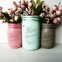 Hostess Gift - Home Decor - Painted Mason Jars - Vase - Centerpiece for Thanksgiving