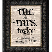 PERSONALIZED MR & MRS NAME & DATE Dictionary Art Print