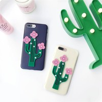 3D Flowering Cactus Case for iPhone 6/6s/6plus/7/etc.