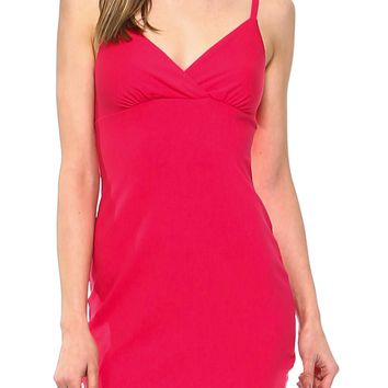 Teeze Me | Spaghetti Strap Surplice Bodycon Dress | Coral