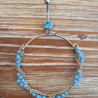 Belly Button Ring - Body Jewelry - Gold Hoop with Blue Beads and Wraparound Chain Charm with Light Blue Gem Stone Belly Button Ring
