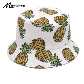 Summer Fresh Fruit Pineapple Hat For Girls Boys Embroidered Fisherman Cap Foldable Panama Caps For Men Women Fishing Bucket Hats