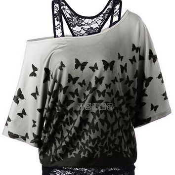 One Shoulder Butterfly Print Lace Patchwork Faux Two Pieces Blouse