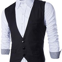 jeansian Men's Business Solid Sleeveless Vest Tops 9370