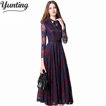 2018 Europe and USA Hot Vintage Black Hollow Lace Flower Princess Dress Sexy Long Maxi Dress