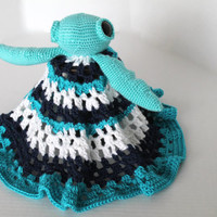 Sea Turtle Lovey - Crochet Cuddly Blanket with Stuffed Lil Sea Turtle- Baby Animal - Crochet Baby Blanket - Aqua and Navy Blue