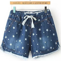 Faded Blue Star Print Drawstring White Lace Trim Denim Shorts