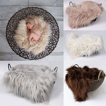 60cmx50cm Newborn Photography Props Blanket Faux Fur Basket Stuffe Photo Prop Background Babies Soft Basket Photo Potografia
