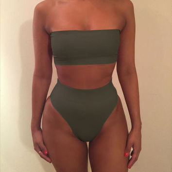 Sexy strapless nude two piece high waist bikini Green