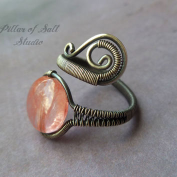 antiqued silver filled Wire Wrapped Ring, wire wrapped jewelry handmade adjustable sterling silver ring, pink cherry quartz, silver jewelry