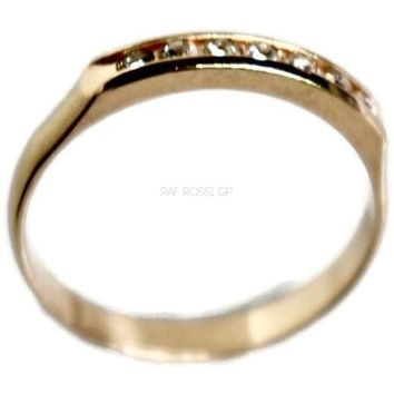 Single Road of Cz 18KTS of Gold Plated Ring