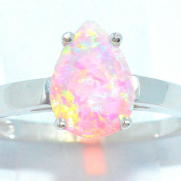 2 Carat Pink Opal Pear Ring .925 Sterling Silver Rhodium Finish White Gold Quality