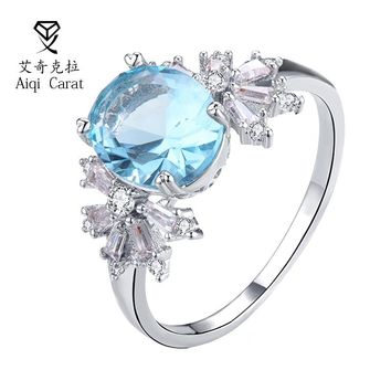 AIQICARAT Beautiful CZ Zircon Rings Flower Rings Design Purple Blue Pink Yellow Bi Jewelry For Womens Wedding Jewelry