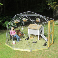 SALE! 12 ft Geodesic Dome Outdoor Aviary, Chicken Enclosure, Animal Pen, Flight Cage with Avian Netting