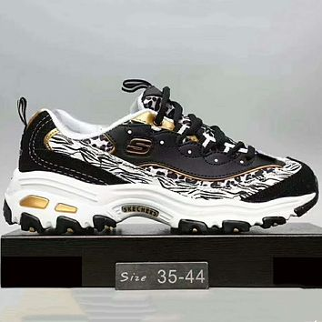 Skechers Fashion Casual Running Sports Sneakers Shoes Black+Golden G-XYXY-FTQ