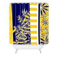 Madart Inc. Blue And Yellow Florals Shower Curtain