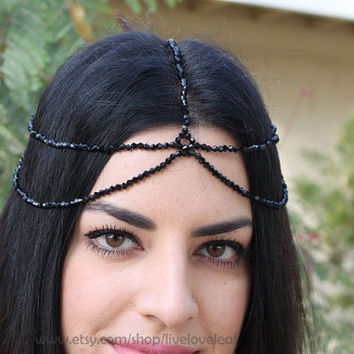5-strand Black crystal House of Harlow Head piece, Goddess hair, Nicole Richie inspired Hair piece, Hair Jewelry, headdress, hair chain,