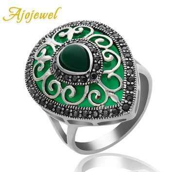 Ajojewel 2017 New Water Drop Resin Women Vintage Ring Black Rhinestone Ring With Stone Green Red Colors