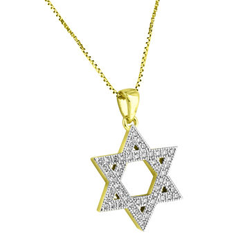 "Star Of David Sterling Silver Mini 0.9"" Pendant 14k Gold Finish Lab Diamonds Necklace"