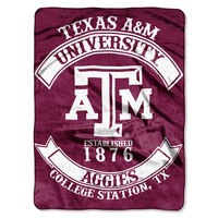 Texas A&M Aggies NCAA Royal Plush Raschel Blanket (Rebel Series) (60x80)