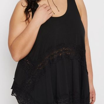 Plus Black Daisy Lace Swing Tank | Plus Going Out Tank Tops | rue21
