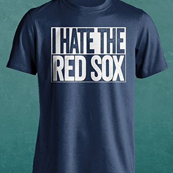 I Hate The Red Sox - New York Yankees Fan Hate T-Shirt - Show Your Team Spirit (S-4XL) Box Design - Haters Gonna Hate - Blue S
