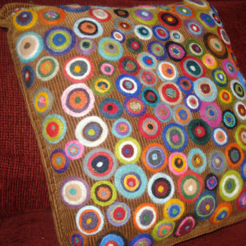 colorful corduroy circle pillow by GardenIslandGirl on Etsy